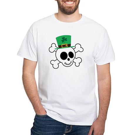 Funny St. Paddy's Day Skull White T-Shirt