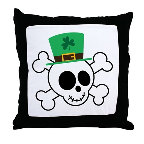 Funny St. Paddy's Day Skull Throw Pillow