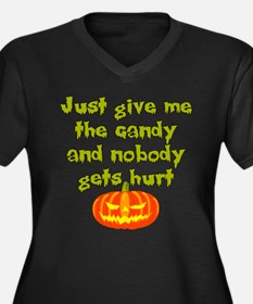 Give me the candy Women's Plus Size V-Neck Dark T-