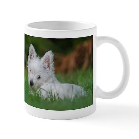 Westie on grass mug