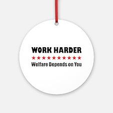 Work Harder Ornament (Round)