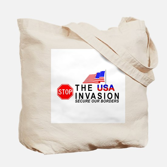 mx1 STOP The Invasion  Tote Bag