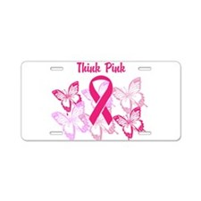 Think Pink Aluminum License Plate