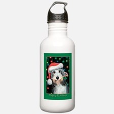 Bearded Collie Christmas Water Bottle