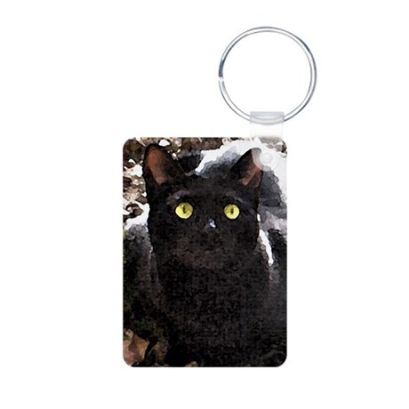 Black Cats Watercolor Aluminum Photo Keychain