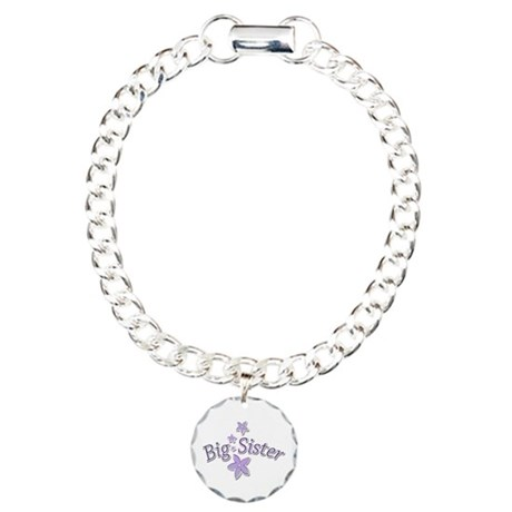 Purple Flowers Big Sister Charm Bracelet, One Char