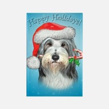 Cute Bearded collie christmas Rectangle Magnet