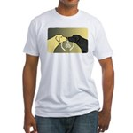 Black & Yellow Labrador tie knot Fitted T-Shirt
