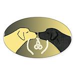 Black & Yellow Labrador tie knot Oval Sticker