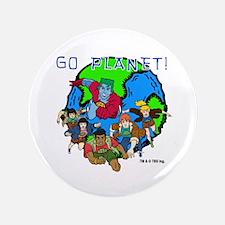 """Captain Planet GO PLANET 3.5"""" Button"""