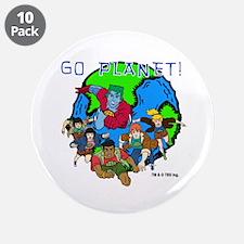 """Captain Planet GO PLANET 3.5"""" Button (10 pack)"""