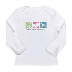 Peace, Love, Dobermans Long Sleeve Infant T-Shirt