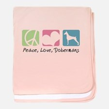 Peace, Love, Dobermans baby blanket