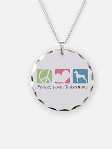 Peace, Love, Dobermans Necklace