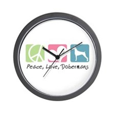 Peace, Love, Dobermans Wall Clock