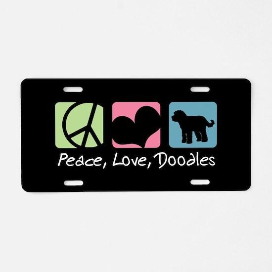Peace, Love, Doodles Aluminum License Plate