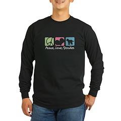 Peace, Love, Doodles Long Sleeve Dark T-Shirt