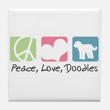 Peace, Love, Doodles Tile Coaster
