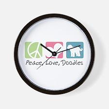 Peace, Love, Doodles Wall Clock
