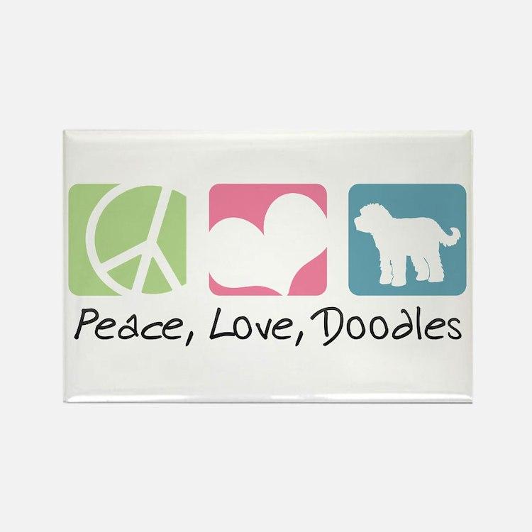 Peace, Love, Doodles Rectangle Magnet