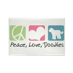 Peace, Love, Doodles Rectangle Magnet (100 pack)