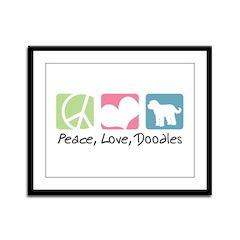Peace, Love, Doodles Framed Panel Print