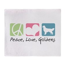 Peace, Love, Goldens Throw Blanket