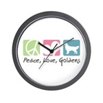 Peace, Love, Goldens Wall Clock