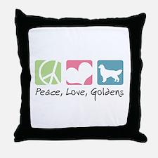Peace, Love, Goldens Throw Pillow