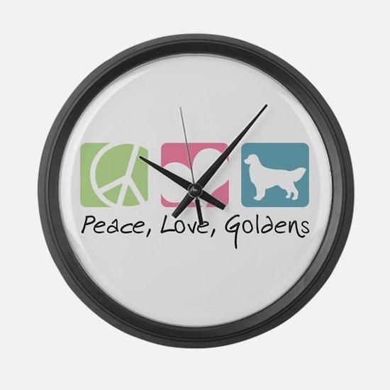 Peace, Love, Goldens Large Wall Clock