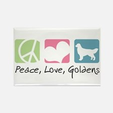 Peace, Love, Goldens Rectangle Magnet