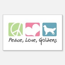 Peace, Love, Goldens Sticker (Rectangle)