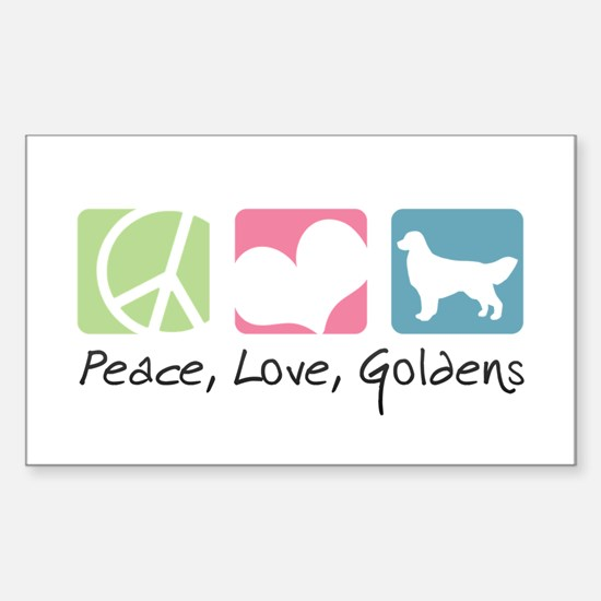 Peace, Love, Goldens Sticker (Rectangle)