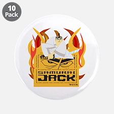 "Samurai Jack Flames 3.5"" Button (10 pack)"