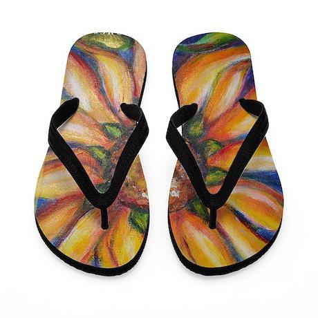Sunflower, colorful, art, Flip Flops