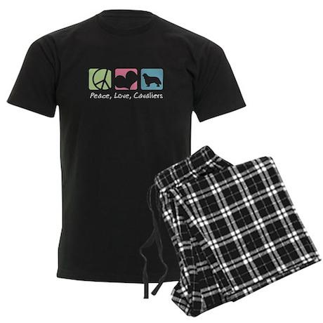 Peace, Love, Cavaliers Men's Dark Pajamas