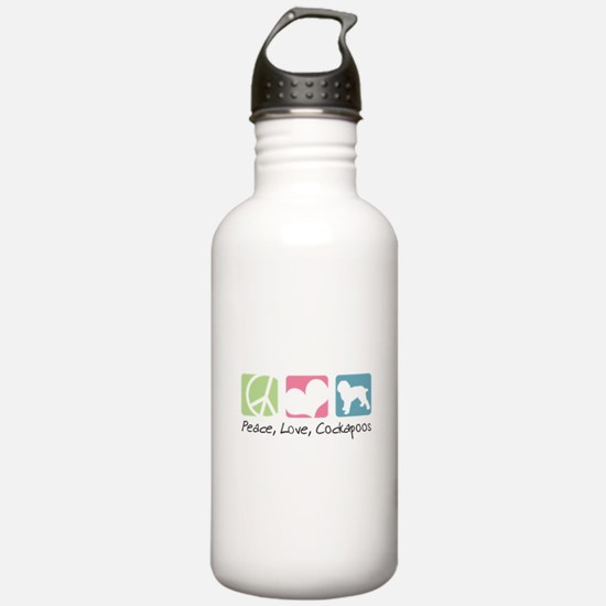Peace, Love, Cockapoos Water Bottle