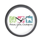 Peace, Love, Cockapoos Wall Clock