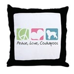 Peace, Love, Cockapoos Throw Pillow