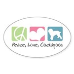 Peace, Love, Cockapoos Sticker (Oval 50 pk)
