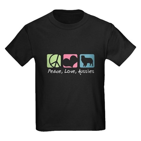 Peace, Love, Aussies Kids Dark T-Shirt