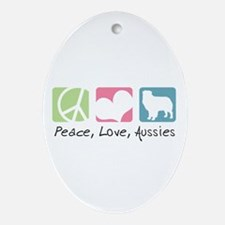 Peace, Love, Aussies Ornament (Oval)