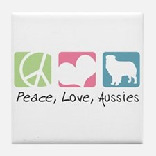 Peace, Love, Aussies Tile Coaster