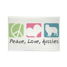Peace, Love, Aussies Rectangle Magnet