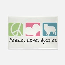 Peace, Love, Aussies Rectangle Magnet (10 pack)