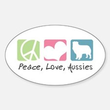 Peace, Love, Aussies Sticker (Oval)