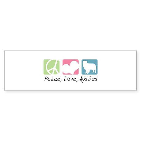 Peace, Love, Aussies Sticker (Bumper)