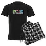Peace, Love, Greyhounds Men's Dark Pajamas