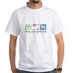 Peace, Love, Greyhounds White T-Shirt