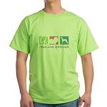 Peace, Love, Greyhounds Green T-Shirt